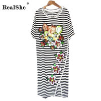 RealShe Women Casual Summer Dress Short Sleeve O Neck Bodycon Dress Striped Sequins T Shirt Women