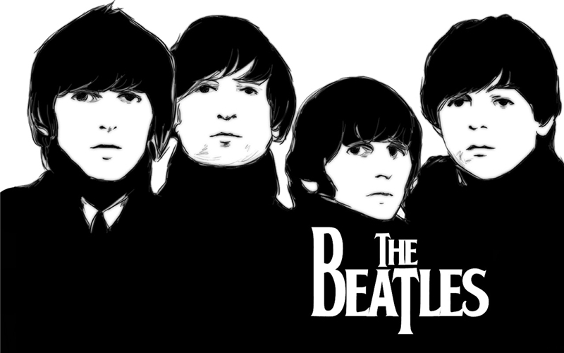 Free Shipping Retro Wallpaper Custom The Beatles Canvas Poster Classic Bedroom Decoration Black And White Wall Sticker PN 066 In Stickers From Home
