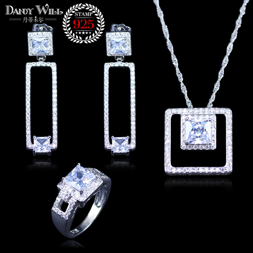Rings-Set Jewelry-Sets Necklace Pendant-Earrings Crystal Gift 925-Silver Lover Square