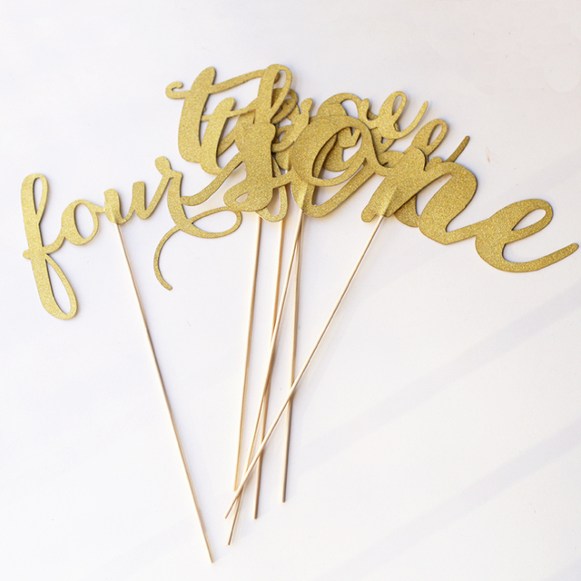 Glitter paper numbers,table number sticks, Gold or Silver table ...