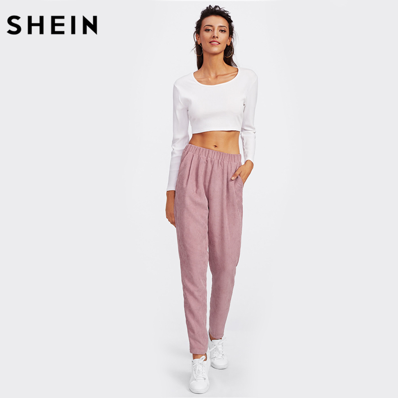 267b813238 SHEIN Pink Faux Flap Pocket Back Cord Peg Pants Mid Waist Fall Womens  Casual Pants Elastic Waist Loose Trousers-in Pants & Capris from Women's  Clothing on ...