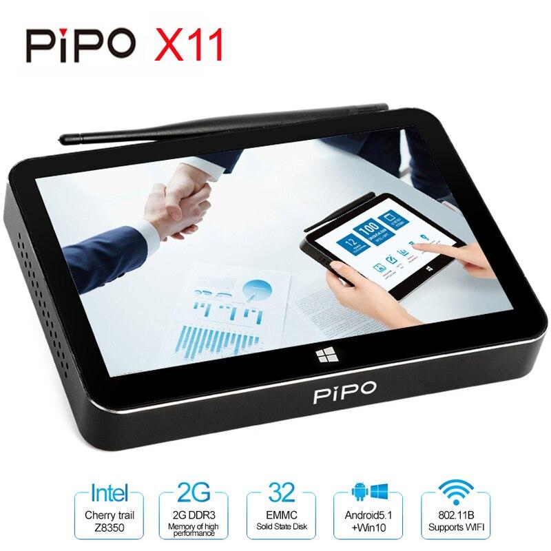 PIPO X11 Mini PC Intel Cherry Trail Z8350 2 gb/32 gb Boîte de TÉLÉVISION Intelligente Android Windows 10 Double OS 8.9 pouce 1920*1200 p Écran Tactile