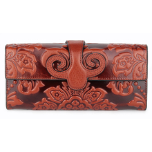 Guaranteed Genuine Oil Waxing Leather Embossing Flower Women Wallet Large Capacity (7 colors)