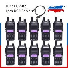 10 pièces UV 82 des navires de moscou! BaoFeng UV 82 talkie walkie 5W 136 174MHz/400 520MHz Radio bidirectionnelle Baofeng uv82 Radio jambon
