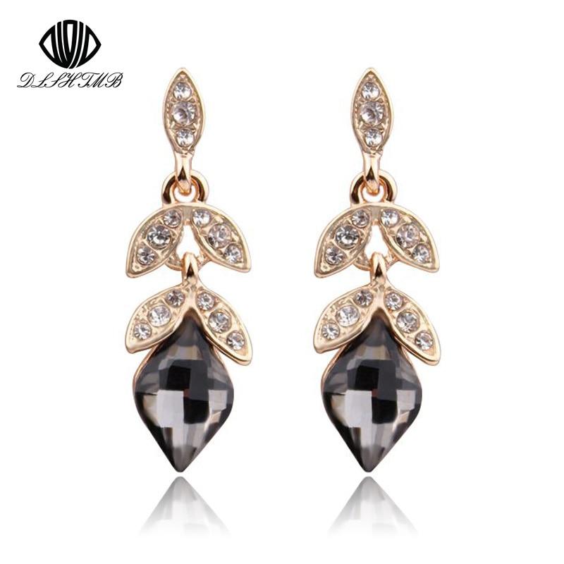 2016 Teardrop Crystal Bridal Gold Long Earrings for Women Water Drop Fine Jewelry Wedding Jewelry pendientes mujer