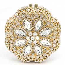 Frauen gold Abend-handtaschen mit Sparkle Kristall Diamanten für Damen Hochzeit Prom Abendgesellschaft Kristall Box Clutch Q45