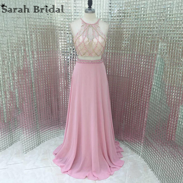 Sexy Off The Shoulder Evening Dress 2 Piece Beading Sheer Illusion ...