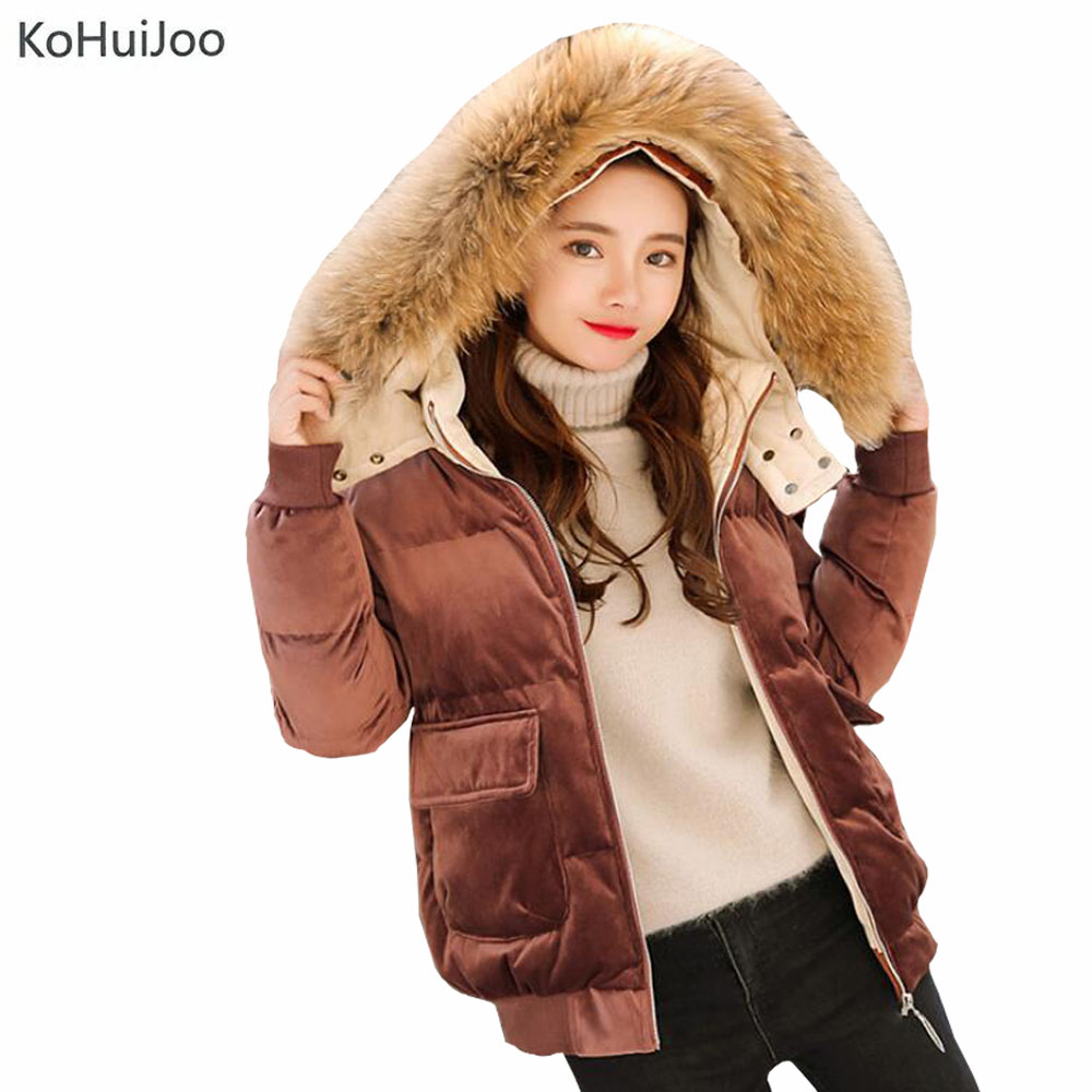 KoHuiJoo Black Khaki Pink Blue Winter Velvet   Parka   Women Cotton Padded Coat Thick Warm Natural Raccoon Fur Collar Overcoats