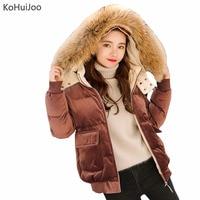 KoHuiJoo Black Khaki Pink Blue Winter Velvet Parka Women Cotton Padded Coat Thick Warm Natural Raccoon