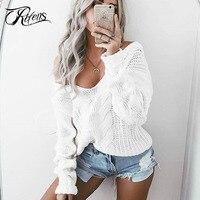 Urifens Plus Size Sweater Women 2018 Deep V Neck Knit Pullover Long Sleeve Sexy Twist Jumper Autumn Chaqueta Mujer 4XL 5XL LMD28
