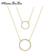 Hollow Circle Pendants Necklace For Women Double Layer Stainless Steel Thin Chain Geometric Round Necklace Jewelry Party Gift(China)
