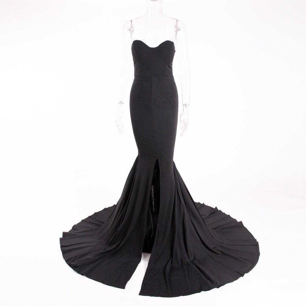 Strapless Split Front  Mermaid Sleeveless Elegant Dress 12