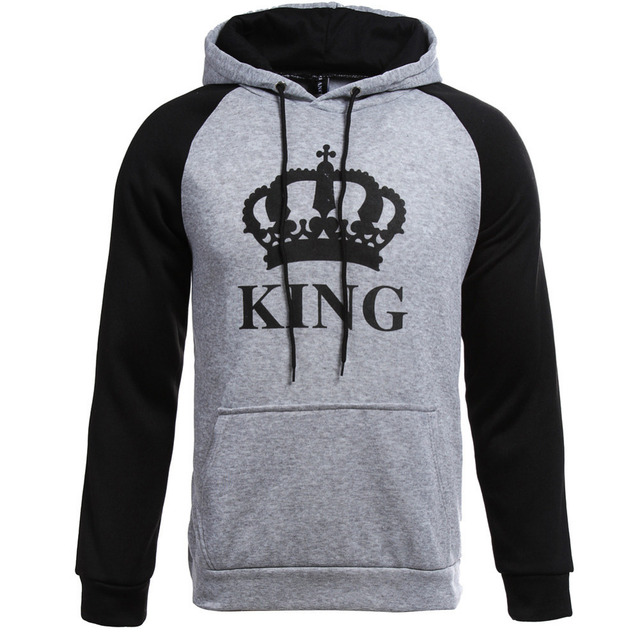 2018 Autumn Winter King Queen Couple Hoodies Letter Crown Printed Hooded Sweatshirt Lovers Unisex Tracksuits Women Men Pullovers