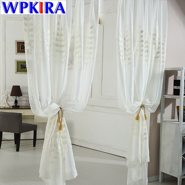 White Coral Embroidered Tulle Curtains Leaves Window For Living Room Rideau Pour Salon Para