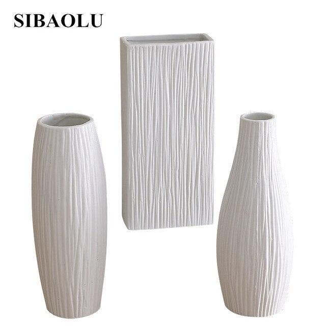 Modern Minimalist Style Desktop Ceramic Flower Vase European Decor White Porcelain Matte Small