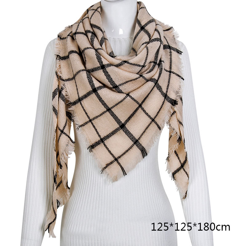 Горячая Распродажа, Модный зимний шарф, Женские повседневные шарфы, Дамское Клетчатое одеяло, кашемировый треугольный шарф,, Прямая поставка - Цвет: B14