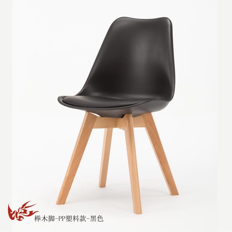 Простой стул Мода нордическая ткань; Массивная древесина обеденный стул кофе отель встречи, чтобы обсудить домашний табурет - Цвет: 7