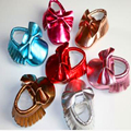 2016 Hot Sale Spring New Arrival Bow Knot Tassel Decor Glitter PU Leather Solid Color Sewing Breathable  Fashion First Walker