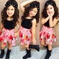 2016 summer girl одежда жилет + юбка 2 шт. мода костюм детская одежда набор 2 3 4 5 6 7 лет Девочка комплект одежды