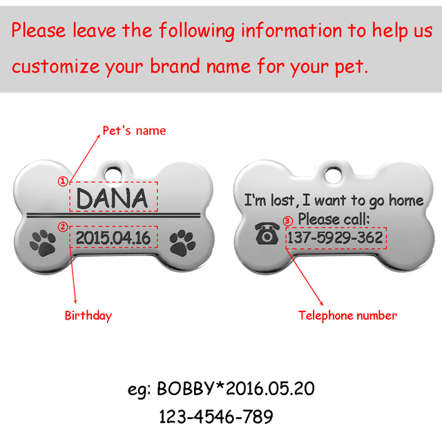 Personalized Dog Tags Engraved Cat Puppy Pet ID Name Collar Tag Pendant Pet Accessories Bone/Paw Glitter 4