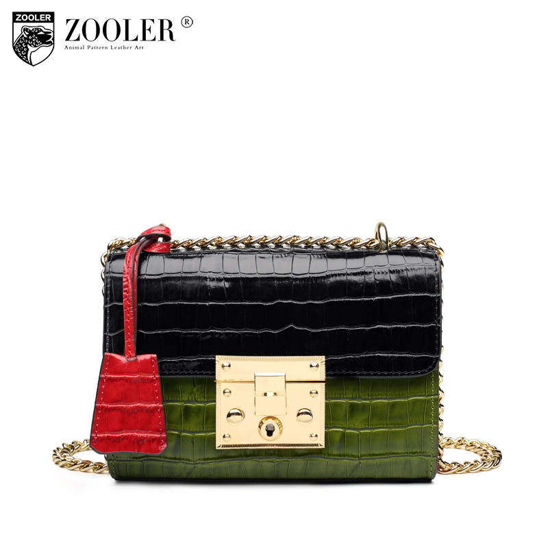 ZOOLER High Quality Leather Bag Women Luxury Handbags Women Bags Designer Chain Shoulder Bags Crossbody Bags for women S106 zooler genuine leather genuine real cowhide small handbags high quality brand women plaid shoulder bags chain tote crossbody bag