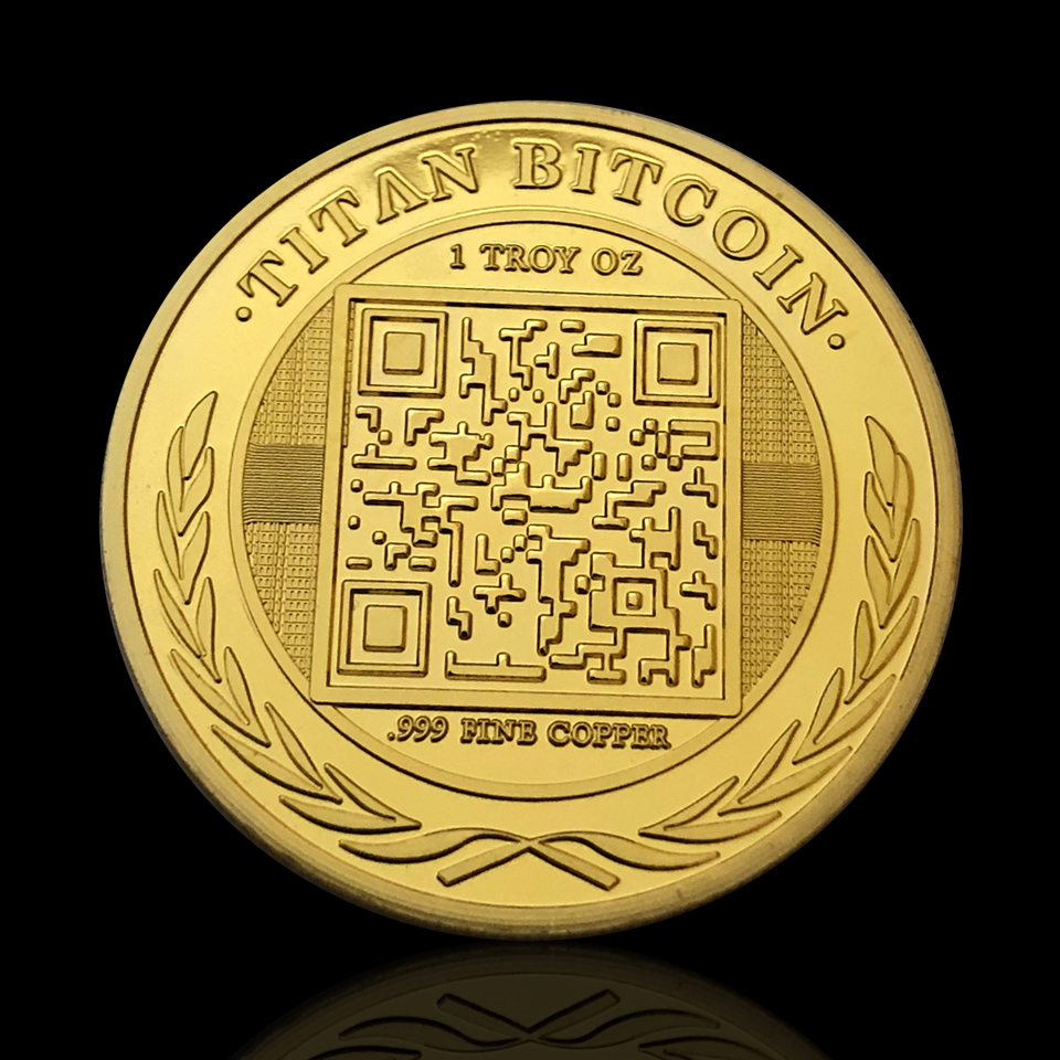 5pcs/lot 999 Gold Plated Metal Coin Home Decoration 2014 Knight One Titan  Bitcoin Virtual Souvenir Coin Worth Collection