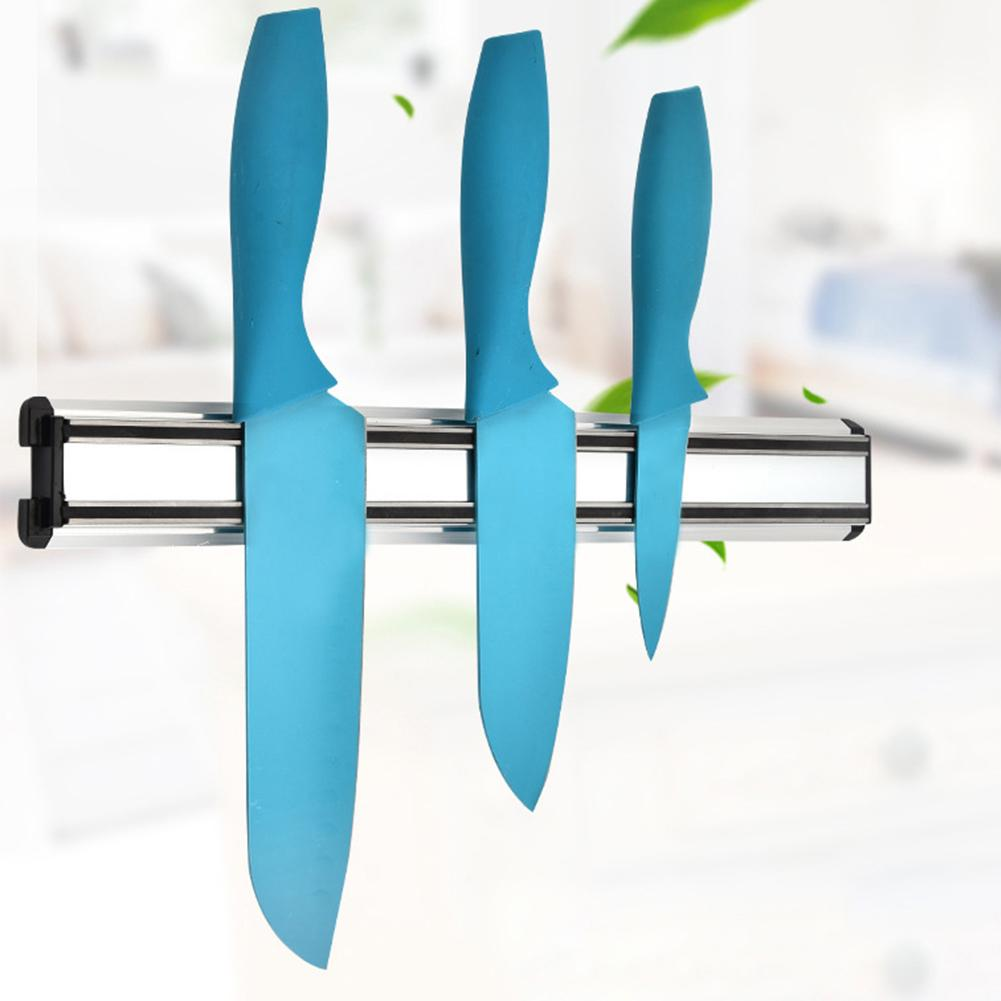 Waasoscon Magnetic Self-adhesive Knife Holder Stand Aluminium Alloy Clean Wall Mounted Knife Holder