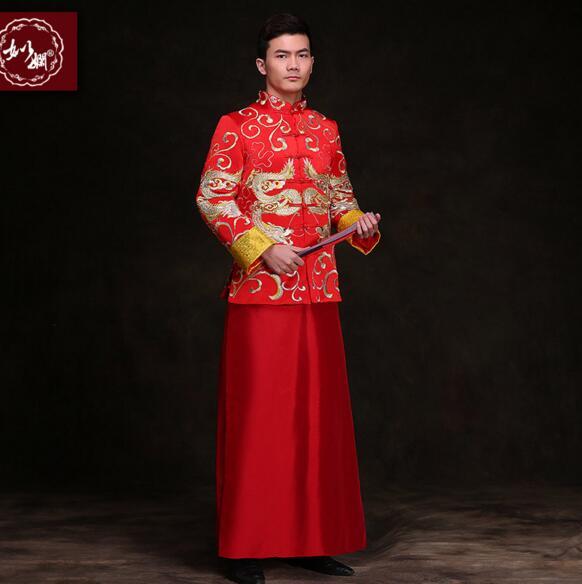 Kineski stil mladoženja vjenčanja duga haljina tang odijelo muško - Nacionalna odjeća - Foto 4