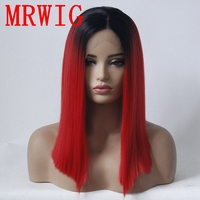 MRWIG 14in Black Ombre Red/Blue/Green/ Hair Color Short Bob Straight Synthetic Lace Front Wig Middle Part