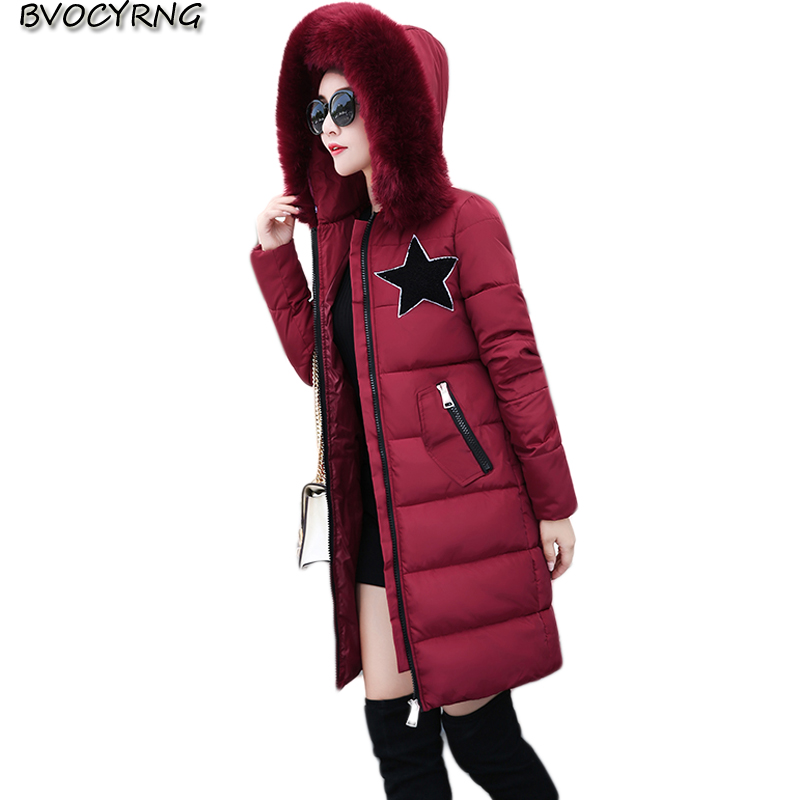 Winter Jacket Women Coat Big Yards Medium long Cotton-Padded Coat Female Hooded Thickening Warm Parka Wadded Jacket Q717 winter jackets new women slim warm wadded jacket long sleeve down parkas hooded cotton padded big yards m 3xl long coat female