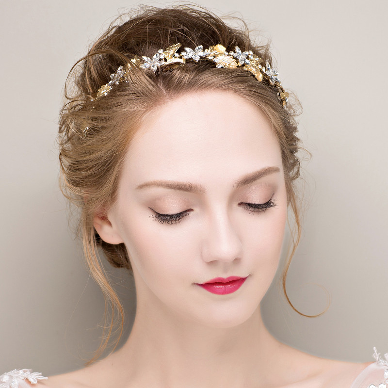 Gold-Silver-Leaf-Wedding-Headpiece-Crystal-Floral-Bridal-Headband-Hair-Accessories-