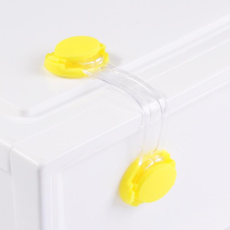 2019 New Candy Toddler Baby Safety Lock Kids Drawer Cupboard Fridge Cabinet Door Lock Plastic Cabinet Locks Blue/Yellow