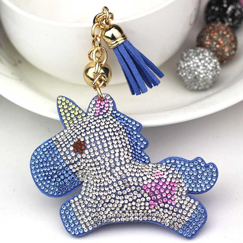 Cristal cheio de strass unicórnio chaveiro carro chaveiros sacos das mulheres decoração acessórios cavalo pingentes bonito animal presente