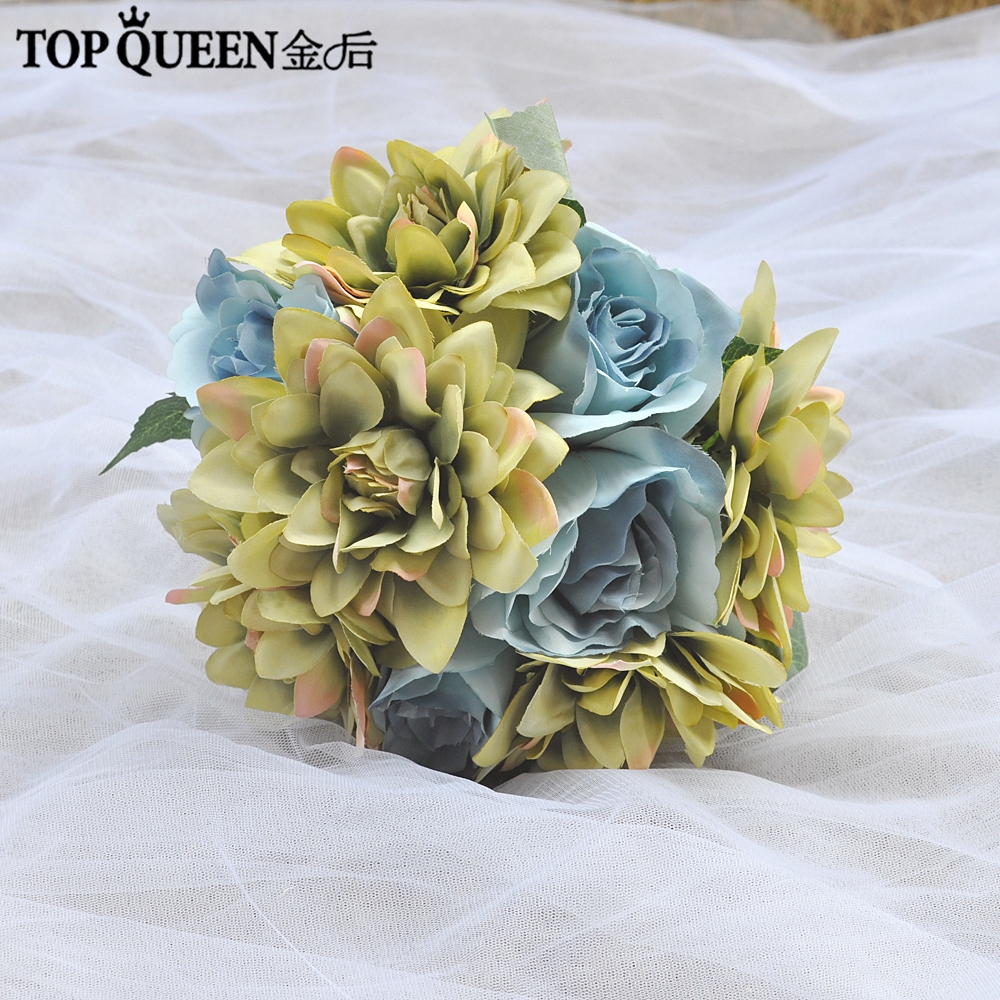 Topqueen F19 Bridal Holding Flowers Wedding Bouquet Blue And Yellow