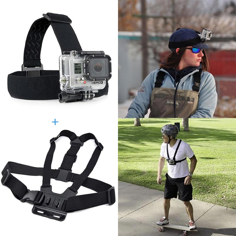 For Action camera Go pro Accessories Head Strap Chest Harness Mount For Gopro Hero 5 3+ 4 SJ4000 xiaomi yi 4K SJCAM EKEN H9/H9R