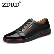 ZDRD 100% Genuine Leather Men Shoes Cow leather shoes Lace up Men's Flats Shoes Comfortable High quality Casual Shoes