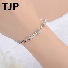 TJP Exquisite Flower Shaped Crystal CZ Women Bracelets Jewelry Pure 925 Sterling Silver Famale Bangle Accessories Engagement