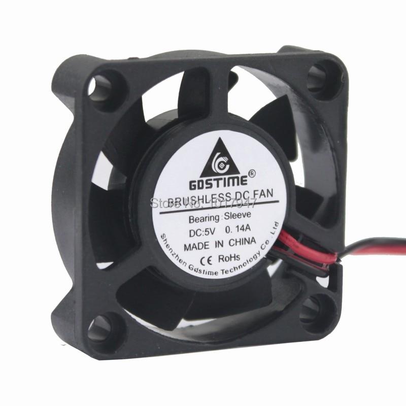 5Pc 12V 2 Pin Mini DC Brushless Computer Cooler Cooling Fan PC Black 40*40*10mm