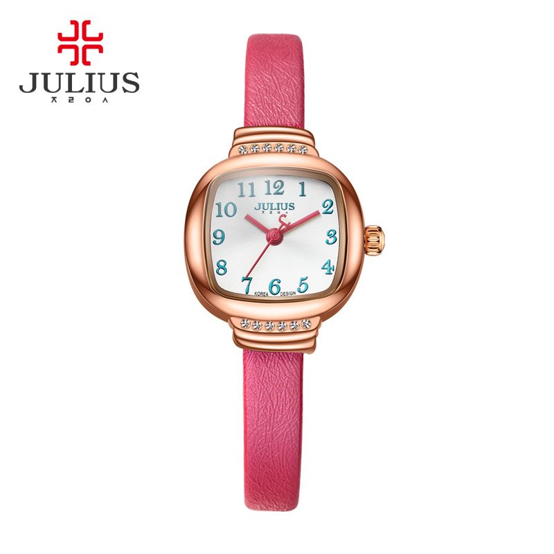 JULIUS Ladies Fashion Casual Dress Leather Strap Red Rose Gold Square Watches Montre Femme Marque De Xmas Gift For Women JA-873 tezer ladies fashion quartz watch women leather casual dress watches rose gold crystal relojes mujer montre femme ab2004