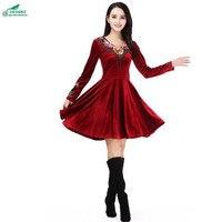 New spring dress women's Middle age age large size fashion dress women autumn winter gold velvet dress long sleeves OKXGNZ QQ933