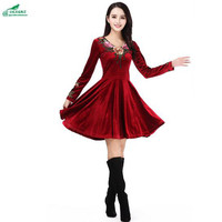 New Spring Dress Women S Middle Age Age Large Size Fashion Dress Women Autumn Winter Gold