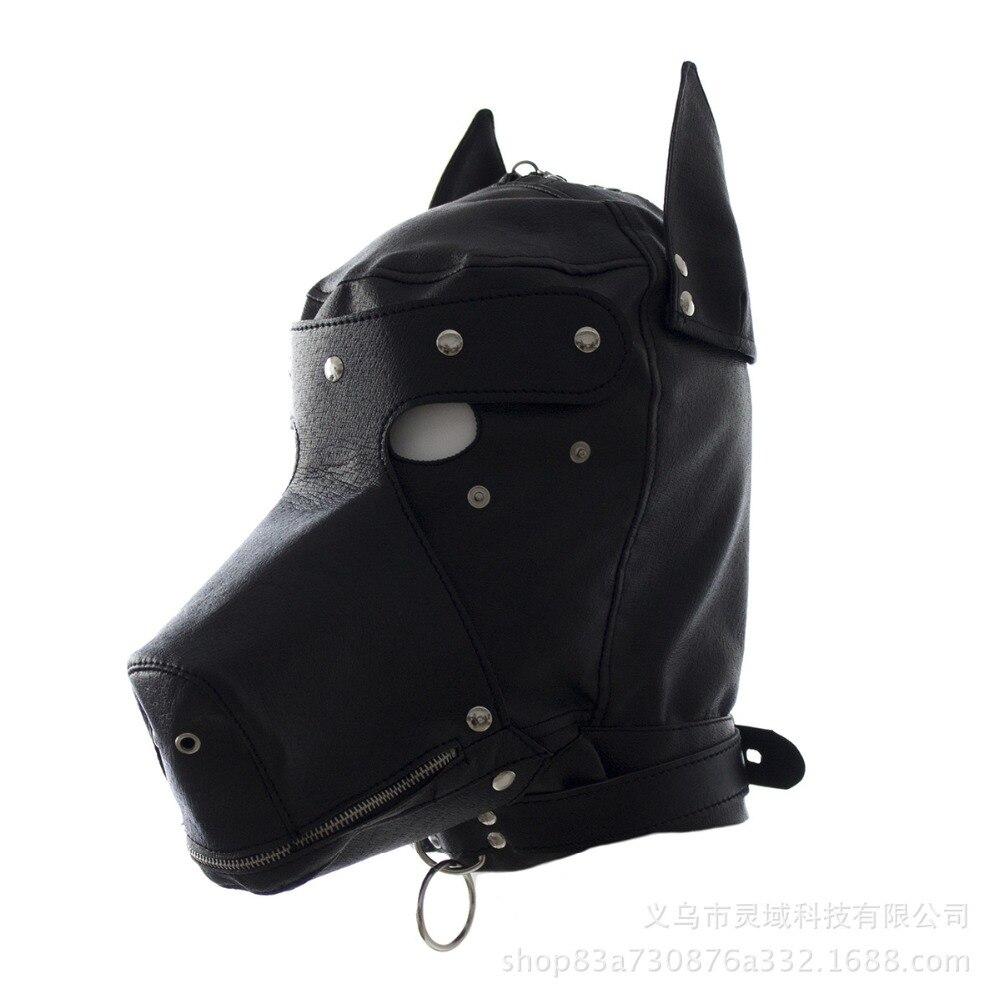 Leather Puppy Play Dog Hood Masks BDSM Bondage Toy Bondage Restraint Hood Mask Fetish Role Play Sex Masks For Couple Men Women