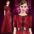 Don Nupcial del Vino Rojo Bordado de Baile en Premios BAFTA de la Alfombra Vestido de Partido Del Vestido de Media Manga Cuello Alto Celebrity vestido de Host vestidos