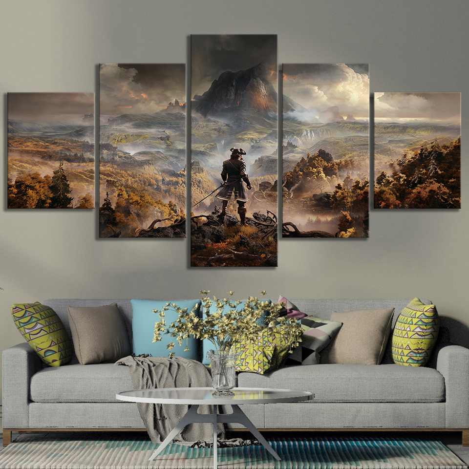5 Panels GreedFall Video Games Art Fantasy Wall Art Game Scene Landscape Wall Paintings for Living Room Wall Decor 3