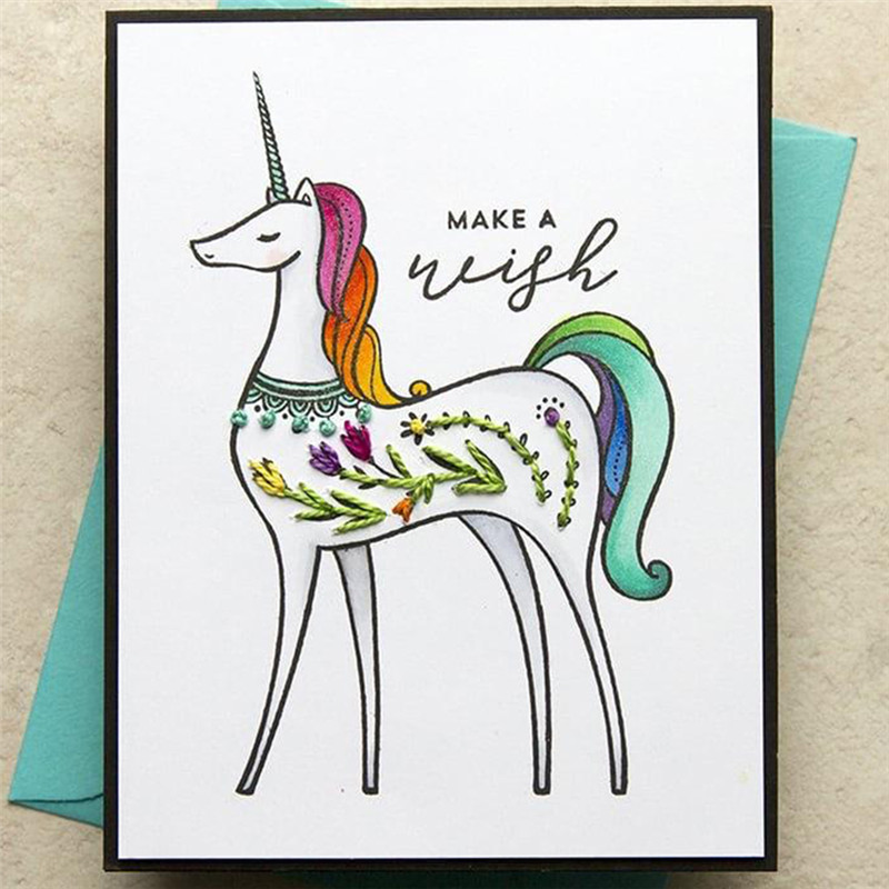 Eastshape Unicorn Stamps and Dies Scrapbooking Animals Flower Dies for Card Making Stamp Embossing Metal Cutting Dies New 2019 in Cutting Dies from Home Garden
