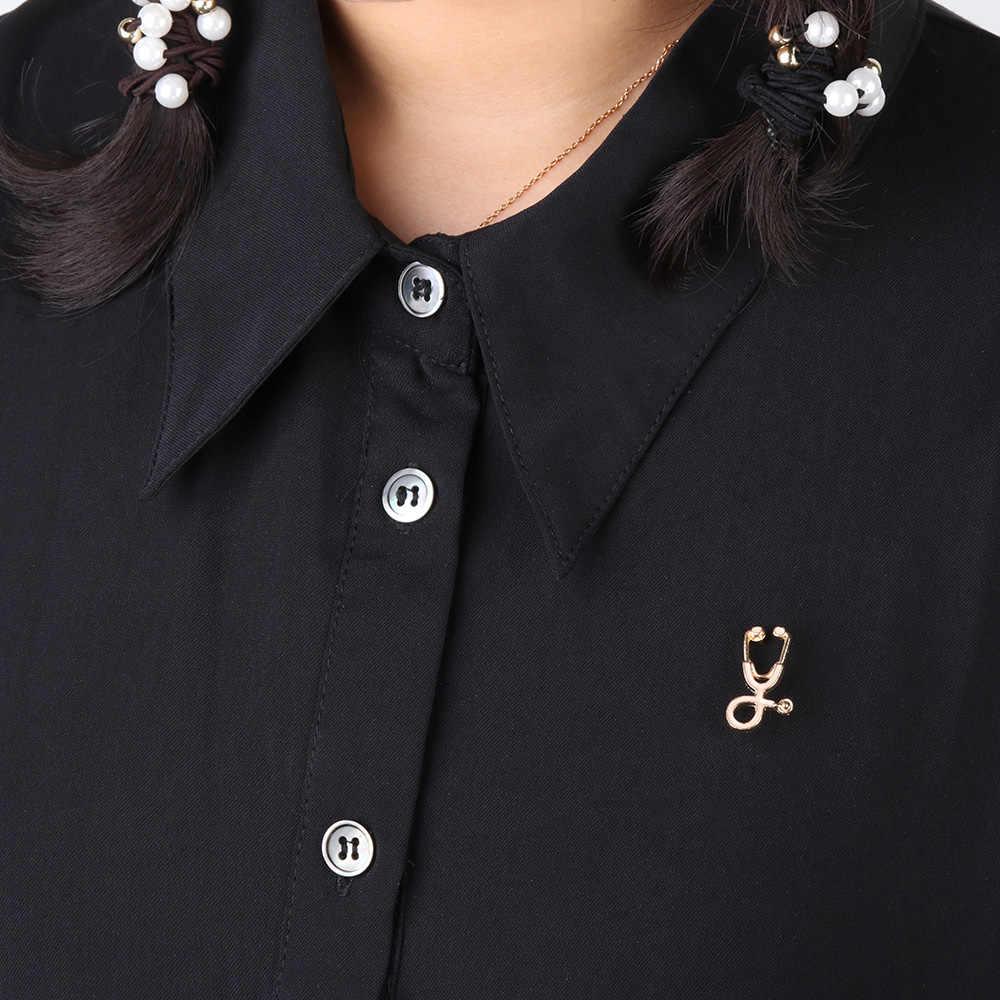 医療男性女性エナメル聴診器ドクターナースブローチピンコートラペルバッジ医療ジュエリー錦織りピンデニムジャケット襟