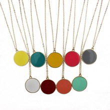 2016 New Coral & White Enamel Disk Disc Necklace Gold Fashion Women Medal Necklace Jewelry Wholesale