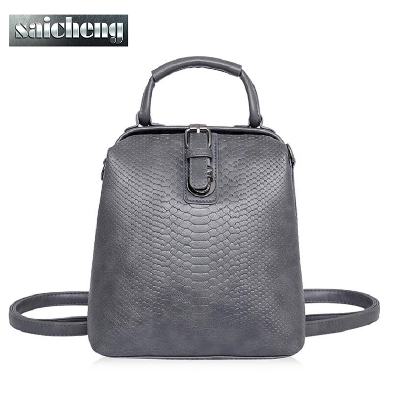 New Hot European style Women Crocodile Pattern Doctor Women Backpack 2016 Famous HASP Belt Bags Women's PU Leather Rucksack Bag