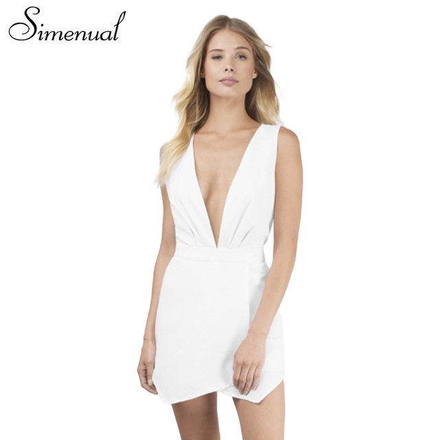 Simenual Summer 2017 short elegant jumpsuit deep v neck solid slim sexy hot tank overalls for women cut out back playsuit sale