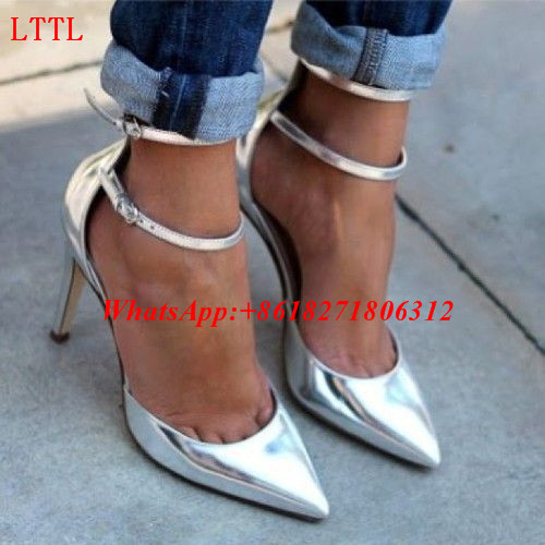 ФОТО New Fashion Street Style Ankle Strap Double Wrap Ladies Shoes Sexy Pointed Toe Womens High Heels Metallic Silver Stilettos Pumps
